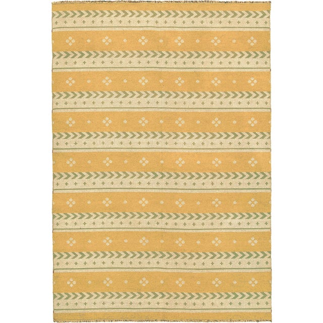 """Textile Mid 20th Century Two-Sided Flat Weave Rug - 5'3"""" X 7'9"""" For Sale - Image 7 of 7"""