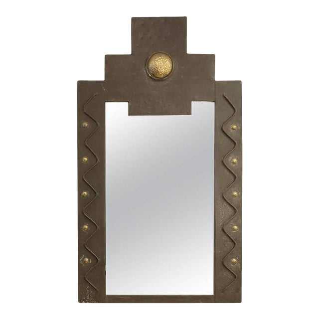 French Metal Brutalist Wall Mirror with Gilt Detail - Image 1 of 3