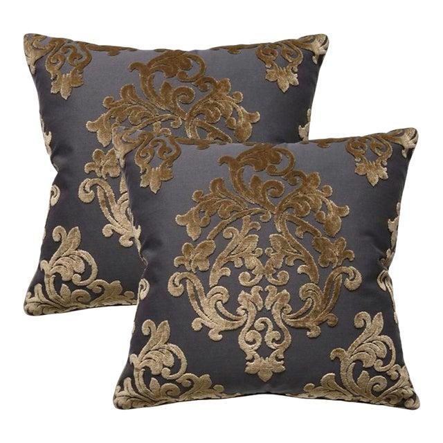 Robert Allen Royal Beauty Slate Pillows - A Pair For Sale