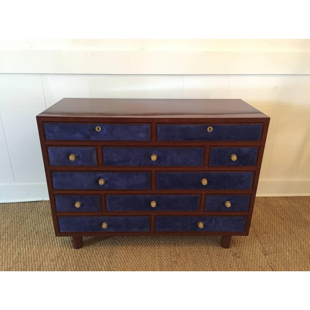 Maison Jansen Maison Jansen Chest of Drawers with Blue Suede and Gold-Plated Pulls For Sale - Image 4 of 6