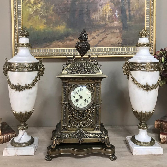 Pair 19th Century French Louis XVI Marble Cassolettes ~ Mantel Urns With Bronze Mounts For Sale - Image 10 of 12