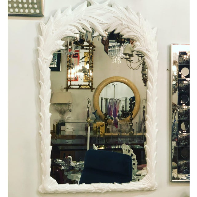 Vintage White Lacquered Palm Frond Wall Mirror For Sale - Image 10 of 11