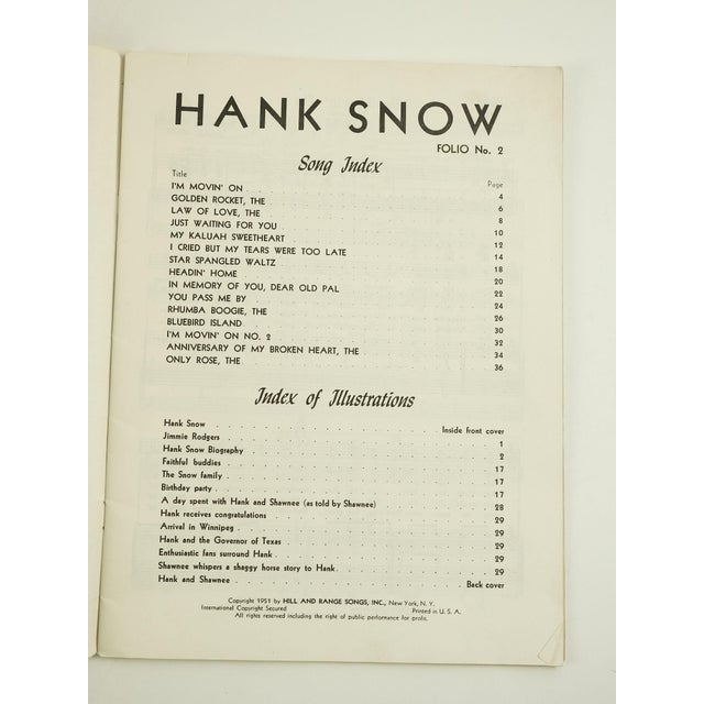 Hank Snow, The Singing Ranger: America's Outstanding Composer of Folk Ballads and Hillbilly Songs, Folio No. 2. Hill and...