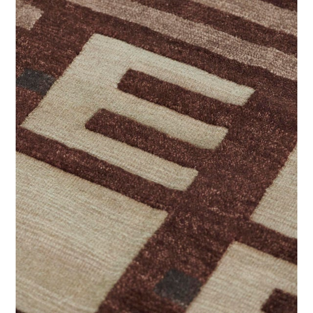 Mid-Century Modern Mansour Modern Handwoven Swedish Inspired Contemporary Wool Rug For Sale - Image 3 of 7