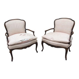 Louis XVI Fauteuil Bergere Chairs - a Pair