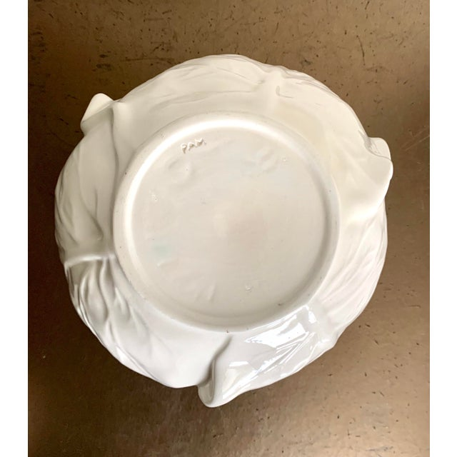 White Studio Cabbage Leaf Ceramic Bowl and Plate, Artist Signed For Sale In San Diego - Image 6 of 9