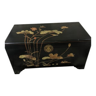 1950s George Zee Art Carved Chest With Stone Inlay For Sale