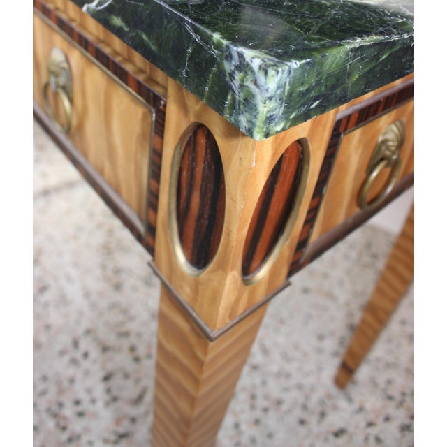 Antique Mid-19 Century American Side Table in Ribbon Satinwood and Marble For Sale - Image 10 of 13