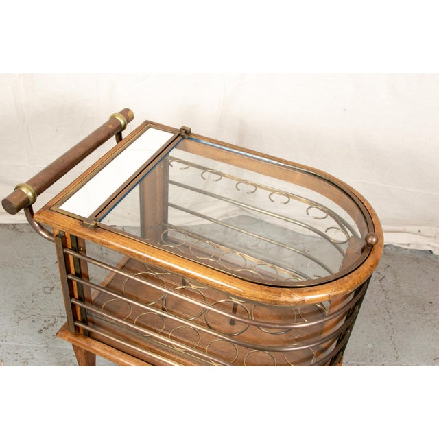 Mid-Century Modern Vintage Walnut and Bronze Bar Cart For Sale - Image 3 of 10