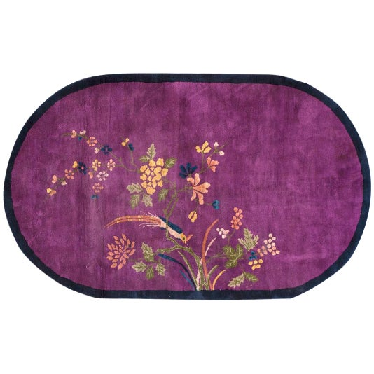 "Chinese Art Deco Purple Rug - 6'10""x4'3"" For Sale"