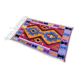 Anglo-Indian Handmade Kilim Rug 2'8'' X 3'10'' For Sale
