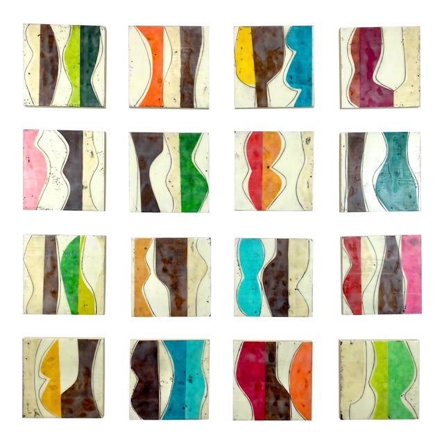 """""""Bodies in Motion"""" Encaustic Collage by Gina Cochran - 16 Piece Installation For Sale"""