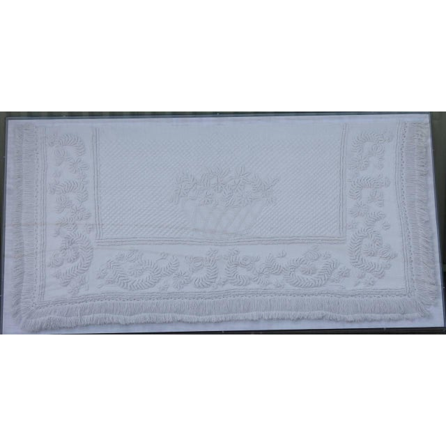 Early American Early 19th Century Trapunto & Candlewick Fringed Sham in Plexy Frame For Sale - Image 3 of 7