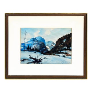 """1970s """"Yosemite Winter"""" Landscape Watercolor Painting, Framed For Sale"""