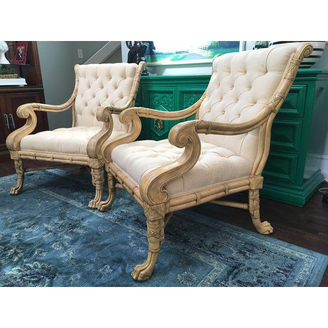 Maitland Smith Bamboo Claw Foot Chairs - Pair - Image 8 of 9