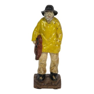 Large Cast Iron New England Fisherman Doorstop 1920s For Sale