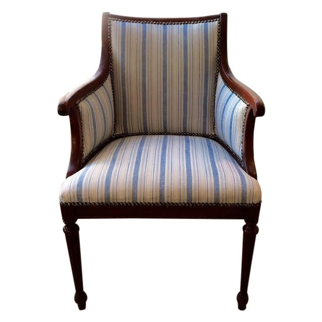 Vintage Blue & White Striped Nailhead Chair For Sale