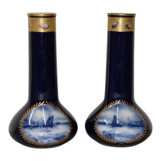 A.P. & F. Limoges, France Cobalt Blue & Gilded Vases - a Pair For Sale