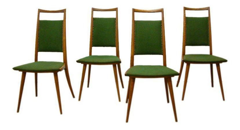 Italian Oak Side Chairs   Set Of 4