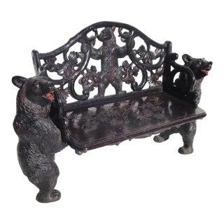 Black Forest Carved Black Bears Bench For Sale