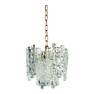 Midcentury Ice Crystal Glass Pendant Light or Chandelier by Kalmar, circa 1960s For Sale