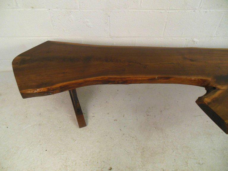 Impressive Mid Century Modern Live Edge Tree Slab Coffee Table For Sale In  New York