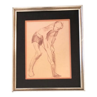 Original Sepia Life Study Vintage Drawing Deco For Sale