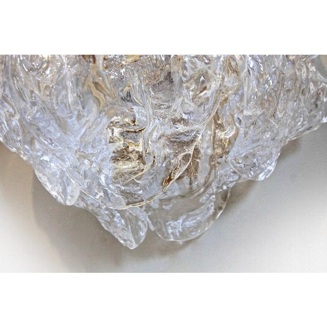 1960s Italian Murano Clear Textered Curved Glass Sconces - a Pair For Sale - Image 9 of 12