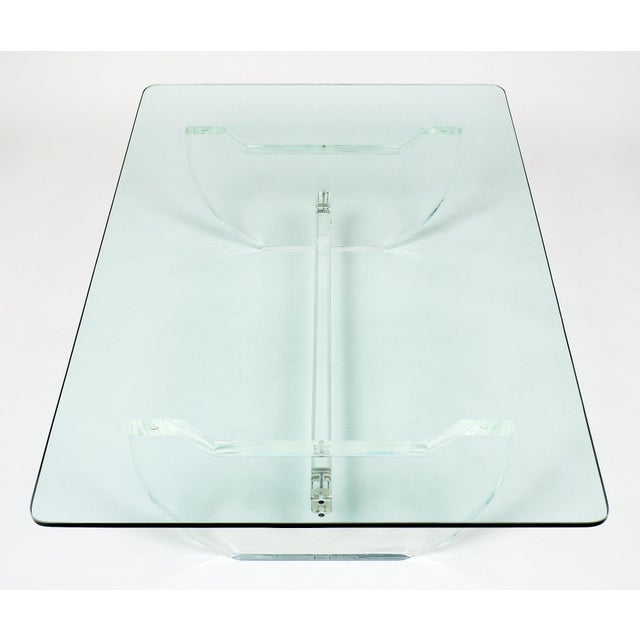 French Modernist Lucite Coffee Table For Sale In Austin - Image 6 of 10