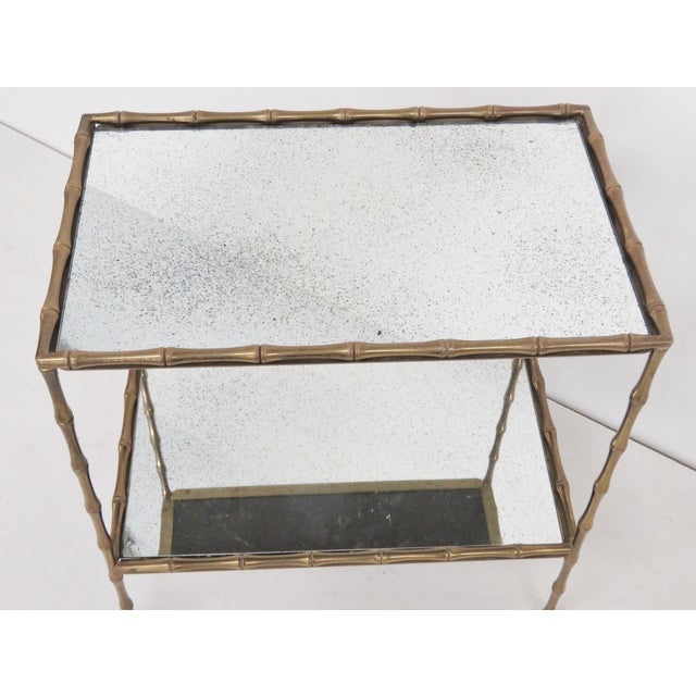 Hollywood Regency Brass Faux Bamboo & Eglomise Mirror Top Bar Cart For Sale - Image 3 of 4