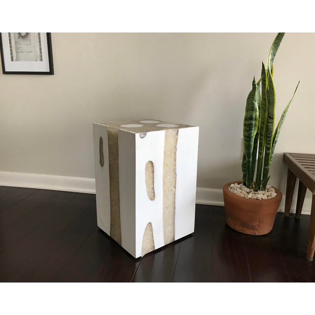 Acrylic Modern Mieke by Made Goods White Teak Wood and Crystal Resin Side Table Stool For Sale - Image 7 of 12