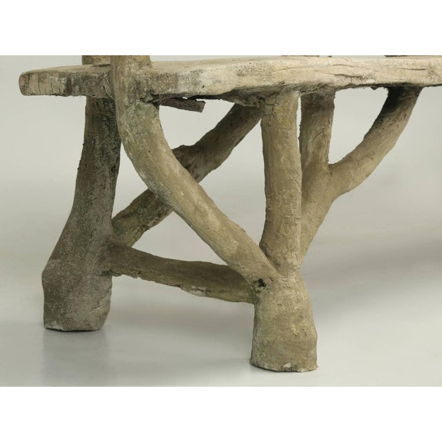 Antique French Faux Bois or Concrete Bench Attributed to Edouard Redont For Sale - Image 9 of 10
