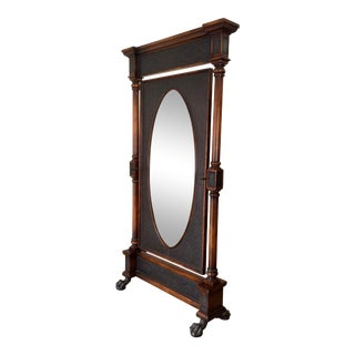 1990s Vintage Theodore Alexander Armoury Cheval Floor Mirror For Sale