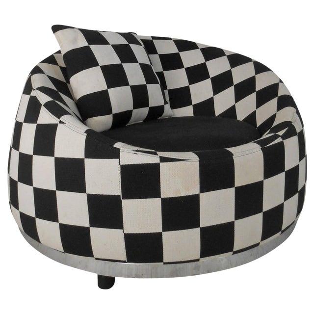 Checkered Contemporary Modern Italian Club Chair For Sale