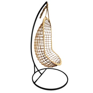 Hanging Bamboo Rattan Scoop Chair