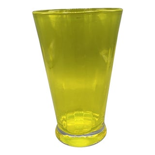 """Mid Century Hand Blown Yellow Vase Glass Made by """"Krosno"""" Made in Poland For Sale"""