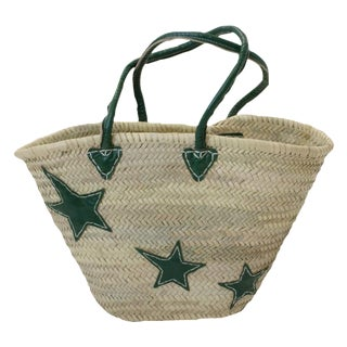 Green Star Motif Market Basket