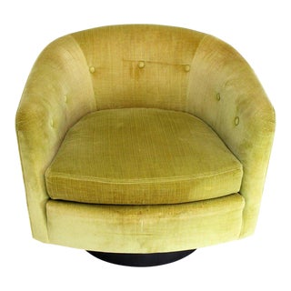 Milo Baughman Single Lounge Chair Swivel Barrel Back Velvet Upholstery For Sale
