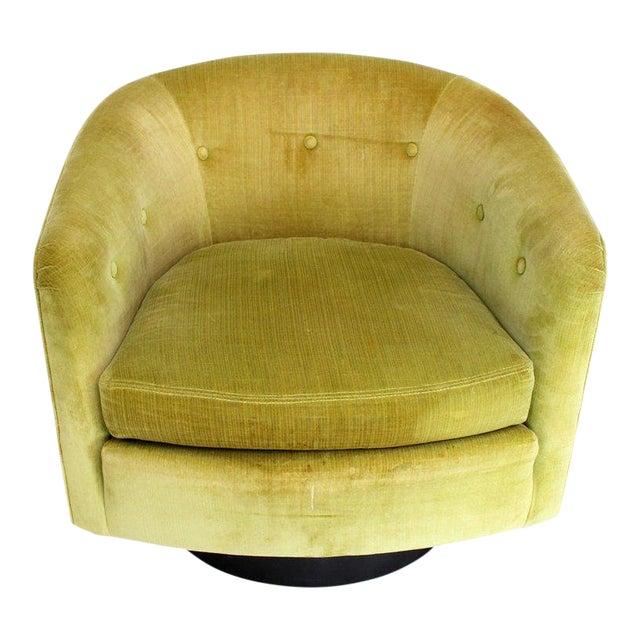 Milo Baughman Single Lounge Chair Swivel Barrel Back Velvet Upholstery For Sale
