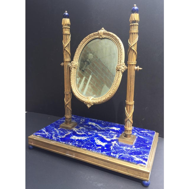 Blue 19th Century, French Bronze Doré Solid Lapis Lazuli Dressing Table Mirror For Sale - Image 8 of 9