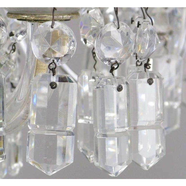 Brass Circa 1940s Lightolier Cut-Crystal Five Arm Chandelier For Sale - Image 7 of 9