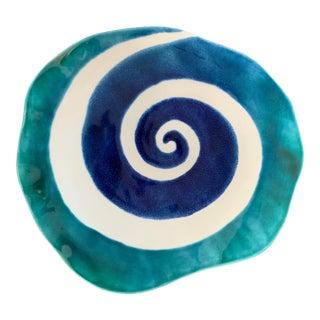 Modern Mediterranean Handmade Glazed Pottery Platter, Wave For Sale