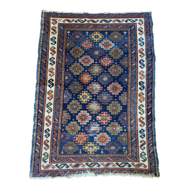 "Vintage Cobalt Blue Hand Knotted Geometric Rug- 34""x 47"" For Sale"