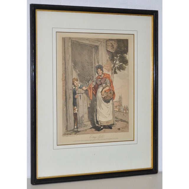 """""""Cottage Girl"""" Hand Colored Engraving by J.A. Atkinson c.1807 This charming early 19th century engraving retains much of..."""