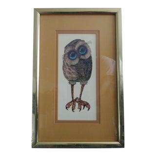 """1970s Glenn Heath """"Big Eyes Owl"""" Print For Sale"""