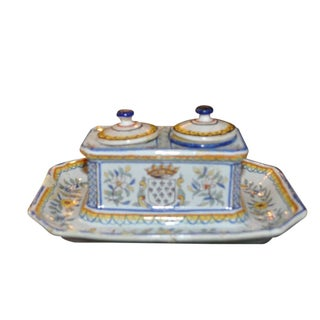 Vintage Blue & Yellow French Faience Ink Stand For Sale