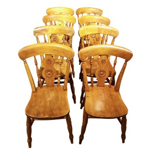 Mid 19th Century English Bullseye Pine Dining Chairs Signed by Cabinetmaker- Set of 8 For Sale
