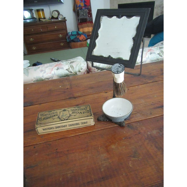 White Victorian Era Cast Iron Shaving Mirror, Brush & Antique Soap Box Set For Sale - Image 8 of 9