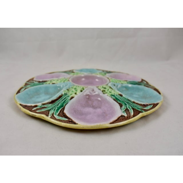 Late 19th Century 19th C. Fielding & Co. English Majolica Oyster Plate For Sale - Image 5 of 8