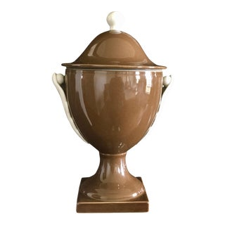 Global Views Cocoa Brown & Ivory Applied Leaf Pedestal Urn For Sale